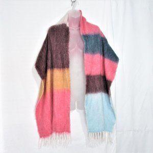 GAP multi color block fuzzy winter scarf 84X17